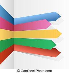 färg, stripes, pilar, infographic, vektor, template.
