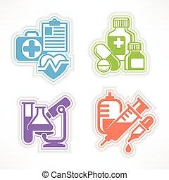 färg, symboler, läkemedel, sätta