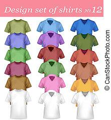 färg, t-shirt, design, template.