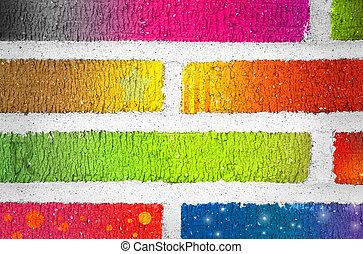 färg, tegelstenar, primär