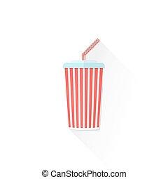färg tidning, cola, illustration, kopp ikon, takeaway