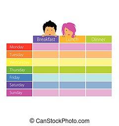 färg, tidtabell, lurar, vektor, lycklig