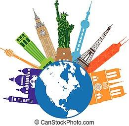färg, värld glob, resa, illustration