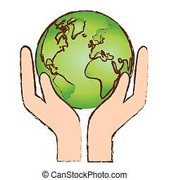 färg, värld, natur, conservancy, ikon