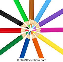 färg, vect, bakgrund, pencils.