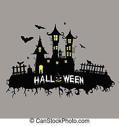 färg, vektor, halloween, illustration