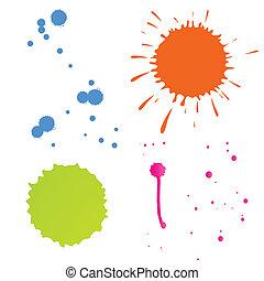färg, vektor, stänk, bakgrund