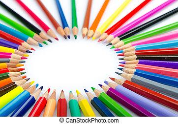 färga, blyertspenna, in, kreativitet, begrepp