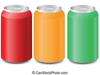 färgad, burkar, aluminium, soda