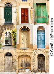 färgad,  collage,  9, dörrar, främre del, färgglatt