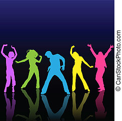 färgad, dansande, dans, floor., silhouettes, funderingar,...