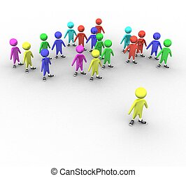färgad, folk, bakgrund, vit, ledare, 3
