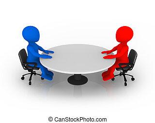 Folk sitta, bord, vit, runda, 3. Begrepp, folk sitta, clock