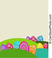 färgad fond, med, påsk eggar