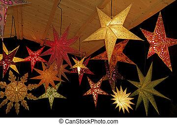 färgad, jul, stjärnor