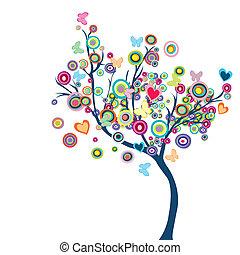 färgad, lycklig, träd, med, blomningen, och, fjärilar