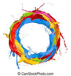 färgad, målar, stänk, cirkel, isolerat, vita, bakgrund