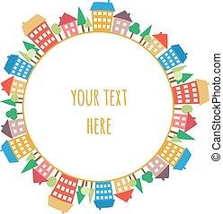 färgad, mönster, seamless, hus, doodles, cirkel