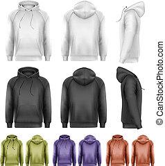 färgad, olik, manlig, sätta, vector., hoodies.