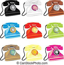 färgad, retro, illustration, isolerat, telefoner, vektor