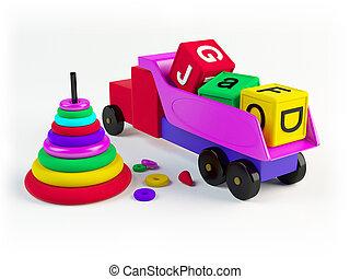 färgad, toys