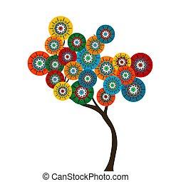 färgad, träd, blomningen, cirkel, stylized