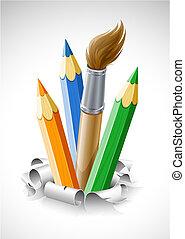 färgade blyertspenna, och, borsta, in, trasig tidning