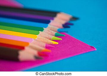 färgglatt, blyertspenna, -, skola, skrivpapper