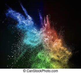 färgglatt, pudra, exploderande, isolerat, på, svart