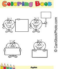färglag beställ, sida, äpplen