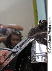 färgning, hår