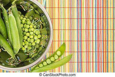 färgrik, ärtor, durkslag, grön, frisk, bambu, Tablett