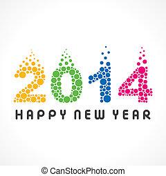 färgrik, år, färsk, 2014, bubbla, lycklig