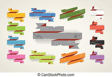 färgrik, årgång, hoplagd, här, polygonal, banners., plats,...