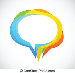 färgrik, abstrakt, -, anförande, bakgrund, bubbla