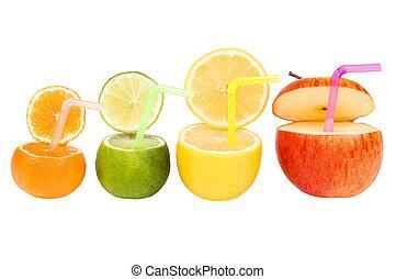 färgrik, abstrakt, frukt sup