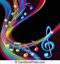 färgrik, abstrakt, noteringen, musik, bakgrund.