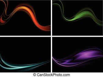 färgrik, abstrakt, vågor, på, svart fond
