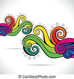 färgrik, abstrakt, virvla runt, bakgrund