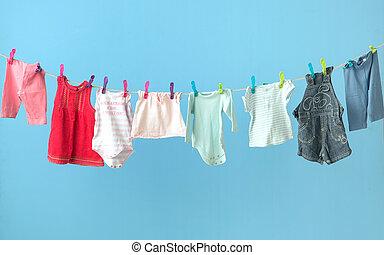 färgrik, baby, kläder, fik, torka