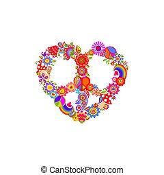 färgrik, bakgrund, flugsvamp, form, regnbåge, fred, vit, hippie, mode, väska, vävnad, symbol, tryck, flower-power, hjärta, skjorta, t