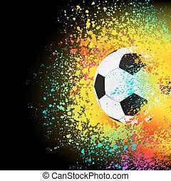 färgrik, bakgrund, med, a, fotboll, ball., eps, 8