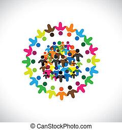färgrik, begreppen, gemenskap, leka, vänskap, anställd, folk, social, vektor, &, unions, mångfald, representerar, delning, icons(signs)., nätverk, lurar, arbetare, illustration, graphic-, lik, begrepp, etc.