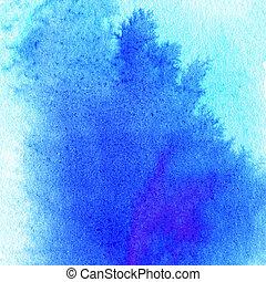 färgrik, blå, vattenfärg, plaska, bakgrund., abstrakt, bläck få syn på, strukturerad, bakgrund., hög, upplösning