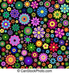 färgrik, blomma, på, svart fond