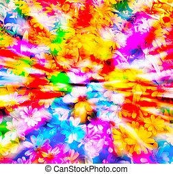 färgrik, blommig, bakgrund.