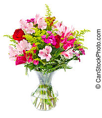 färgrik, blomster bukett, ordning