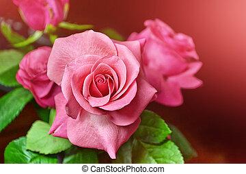 färgrik, blomster knoppaas, av, ro, på, a, bakgrund, sommar, landskap.