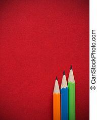 färgrik, blyertspenna, placera, på, röd, läder, bok, bukt