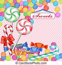färgrik, candies, blandad